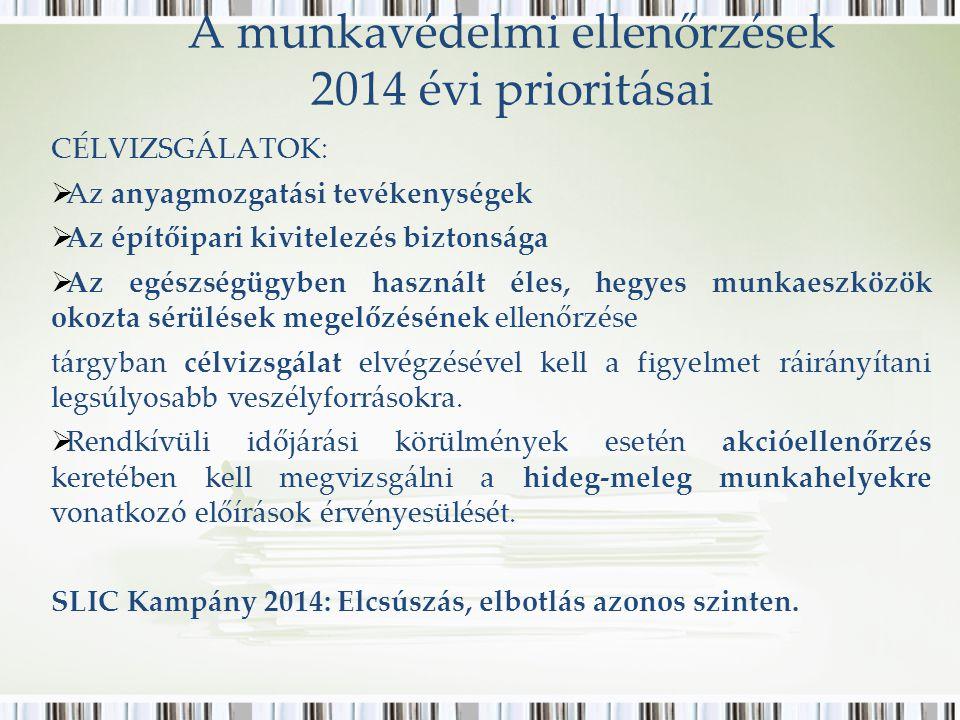 A munkavédelmi ellenőrzések 2014 évi prioritásai CÉLVIZSGÁLATOK:  Az anyagmozgatási tevékenységek  Az építőipari kivitelezés biztonsága  Az egészségügyben használt éles, hegyes munkaeszközök okozta sérülések megelőzésének ellenőrzése tárgyban célvizsgálat elvégzésével kell a figyelmet ráirányítani legsúlyosabb veszélyforrásokra.