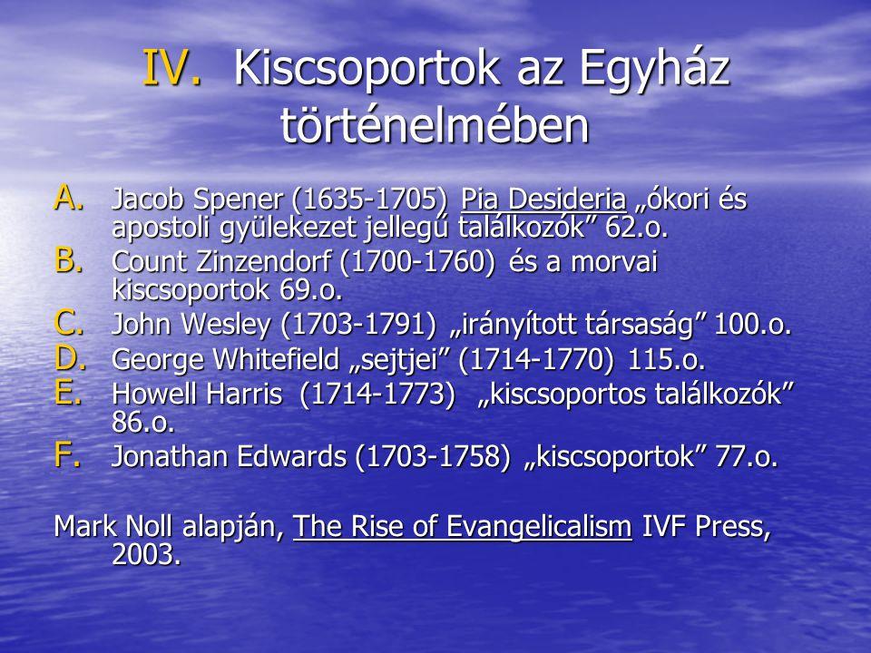 """IV. Kiscsoportok az Egyház történelmében A. Jacob Spener (1635-1705) Pia Desideria """"ókori és apostoli gyülekezet jellegű találkozók"""" 62.o. B. Count Zi"""