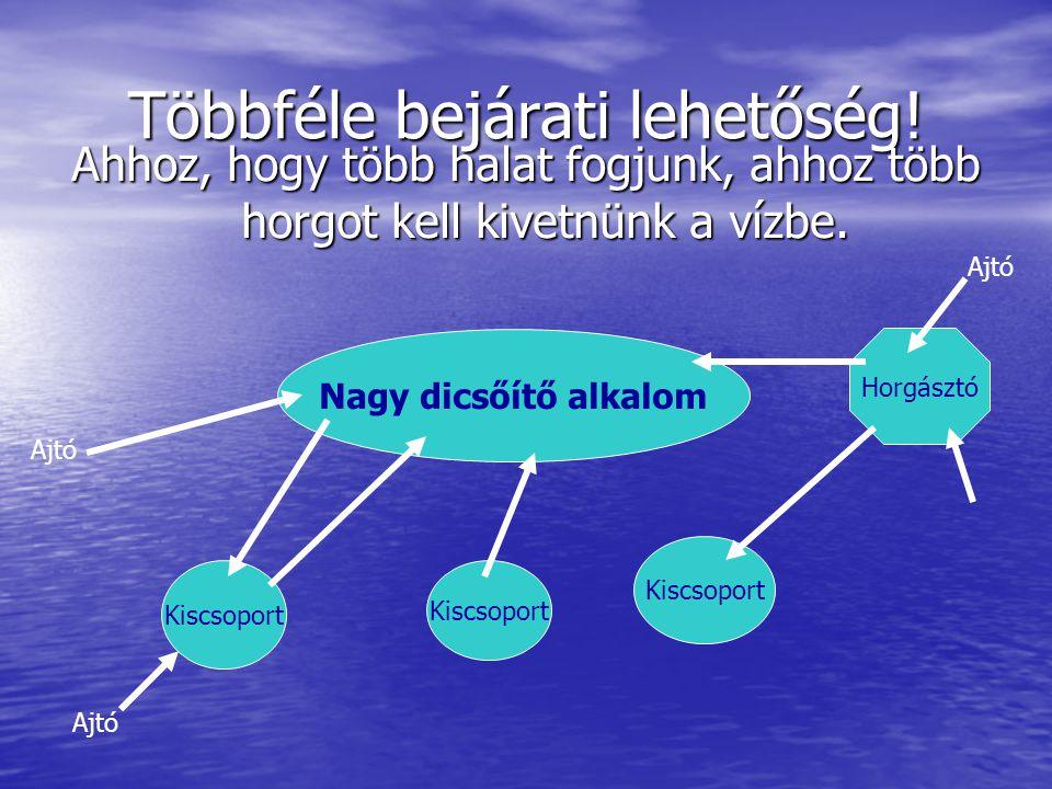 Többféle bejárati lehetőség! Ahhoz, hogy több halat fogjunk, ahhoz több horgot kell kivetnünk a vízbe. Nagy dicsőítő alkalom Kiscsoport Horgásztó Ajtó