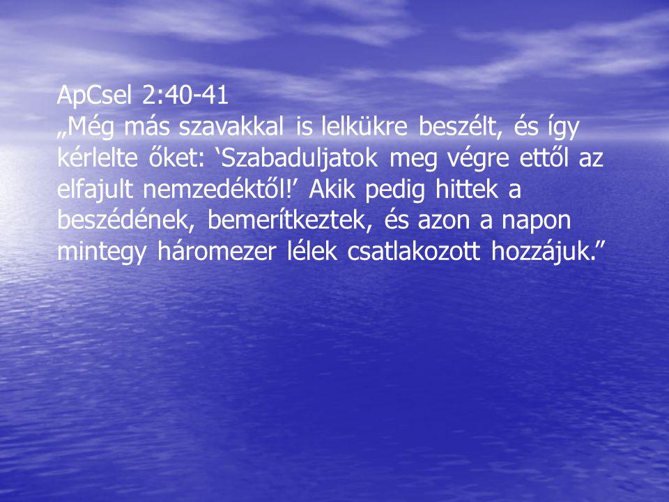"""ApCsel 2:40-41 """"Még más szavakkal is lelkükre beszélt, és így kérlelte őket: 'Szabaduljatok meg végre ettől az elfajult nemzedéktől!' Akik pedig hitte"""