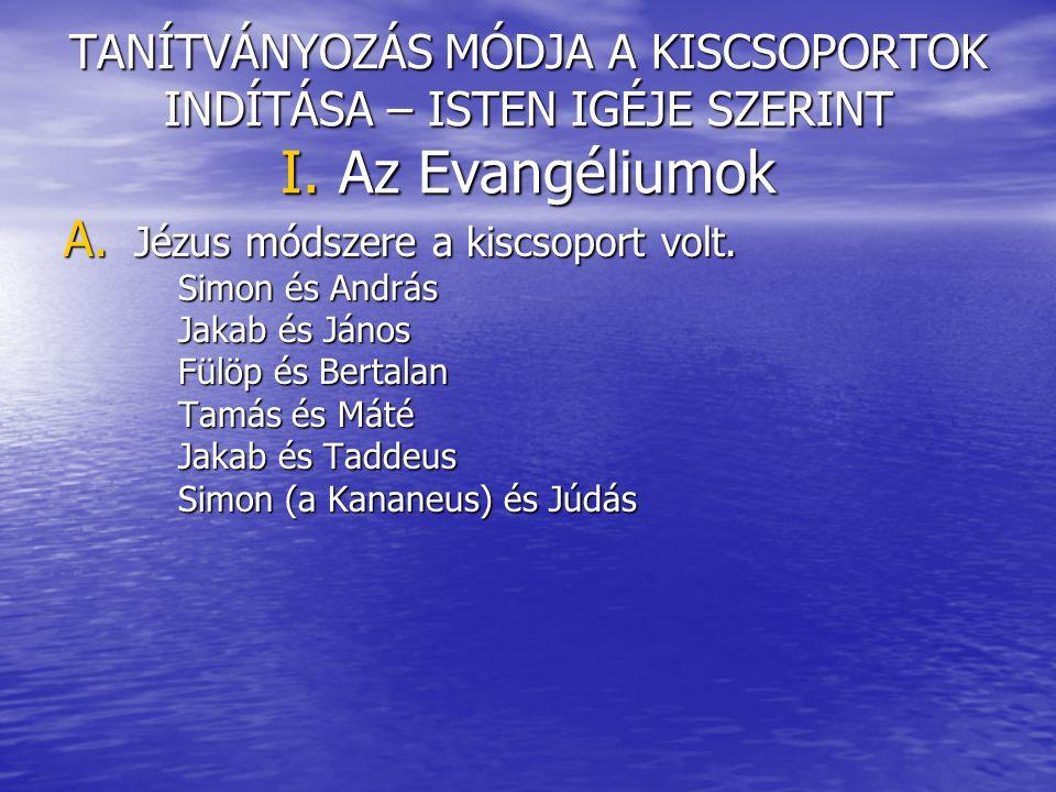 TANÍTVÁNYOZÁS MÓDJA A KISCSOPORTOK INDÍTÁSA – ISTEN IGÉJE SZERINT I. Az Evangéliumok A. Jézus módszere a kiscsoport volt. Simon és András Simon és And