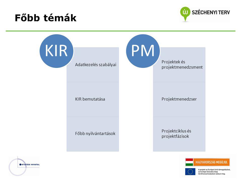 Adatkezelés szabályai KIR bemutatása Főbb nyilvántartások KIR Projektek és projektmenedzsment Projektmenedzser Projektciklus és projektfázisok PM Főbb témák