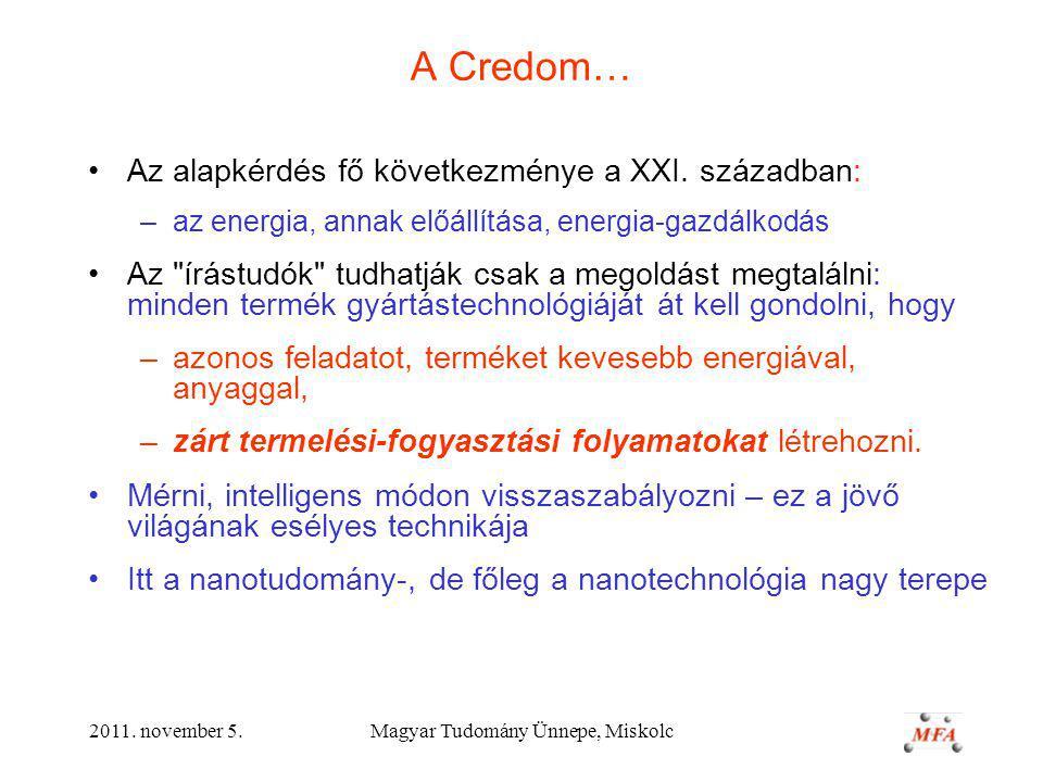 2011.november 5.Magyar Tudomány Ünnepe, Miskolc A Credom… Az alapkérdés fő következménye a XXI.