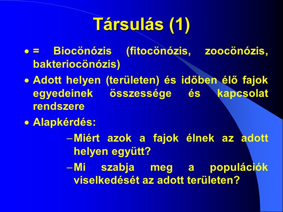 Társulás (1)  = Biocönózis (fitocönózis, zoocönózis, bakteriocönózis)  Adott helyen (területen) és időben élő fajok egyedeinek összessége és kapcsolat rendszere  Alapkérdés:  Miért azok a fajok élnek az adott helyen együtt.