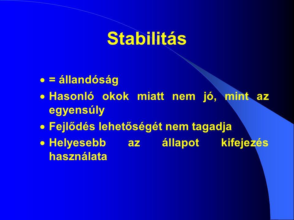 Stabilitás  = állandóság  Hasonló okok miatt nem jó, mint az egyensúly  Fejlődés lehetőségét nem tagadja  Helyesebb az állapot kifejezés használata