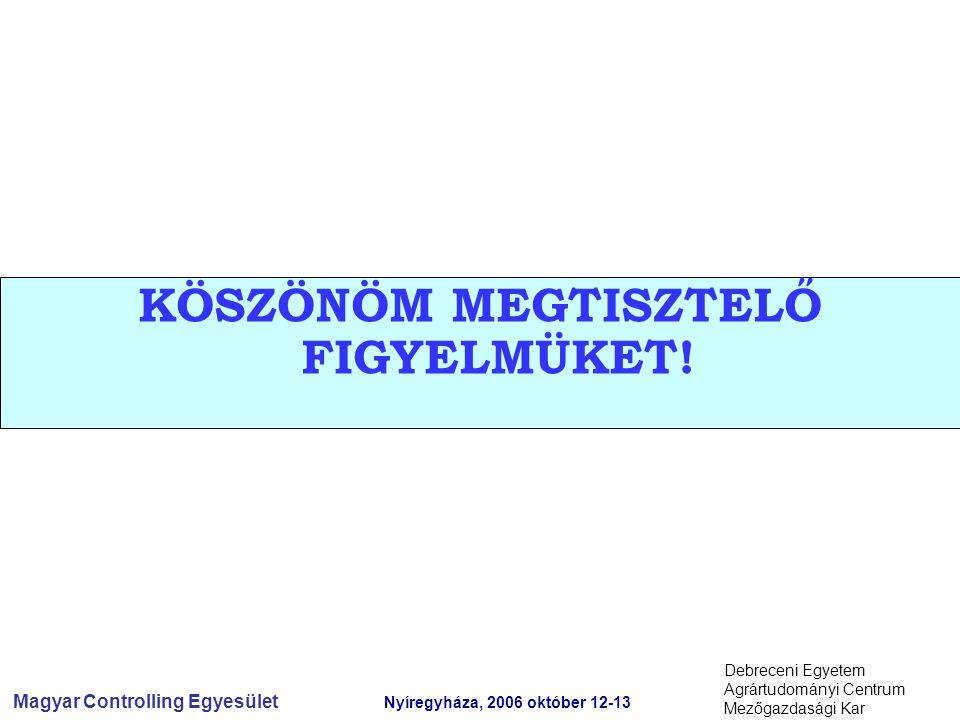 Magyar Controlling Egyesület Nyíregyháza, 2006 október 12-13 Debreceni Egyetem Agrártudományi Centrum Mezőgazdasági Kar KÖSZÖNÖM MEGTISZTELŐ FIGYELMÜKET!
