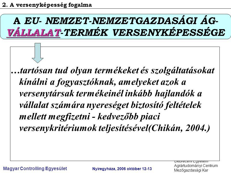 Magyar Controlling Egyesület Nyíregyháza, 2006 október 12-13 Debreceni Egyetem Agrártudományi Centrum Mezőgazdasági Kar …tartósan tud olyan termékeket és szolgáltatásokat kínálni a fogyasztóknak, amelyeket azok a versenytársak termékeinél inkább hajlandók a vállalat számára nyereséget biztosító feltételek mellett megfizetni - kedvezőbb piaci versenykritériumok teljesítésével(Chikán, 2004.) A EU- NEMZET-NEMZETGAZDASÁGI ÁG- VÁLLALAT VÁLLALAT-TERMÉK VERSENYKÉPESSÉGE 2.