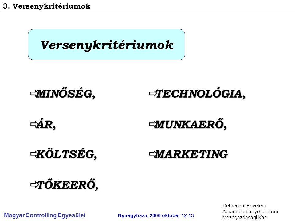 Magyar Controlling Egyesület Nyíregyháza, 2006 október 12-13 Debreceni Egyetem Agrártudományi Centrum Mezőgazdasági Kar 3.