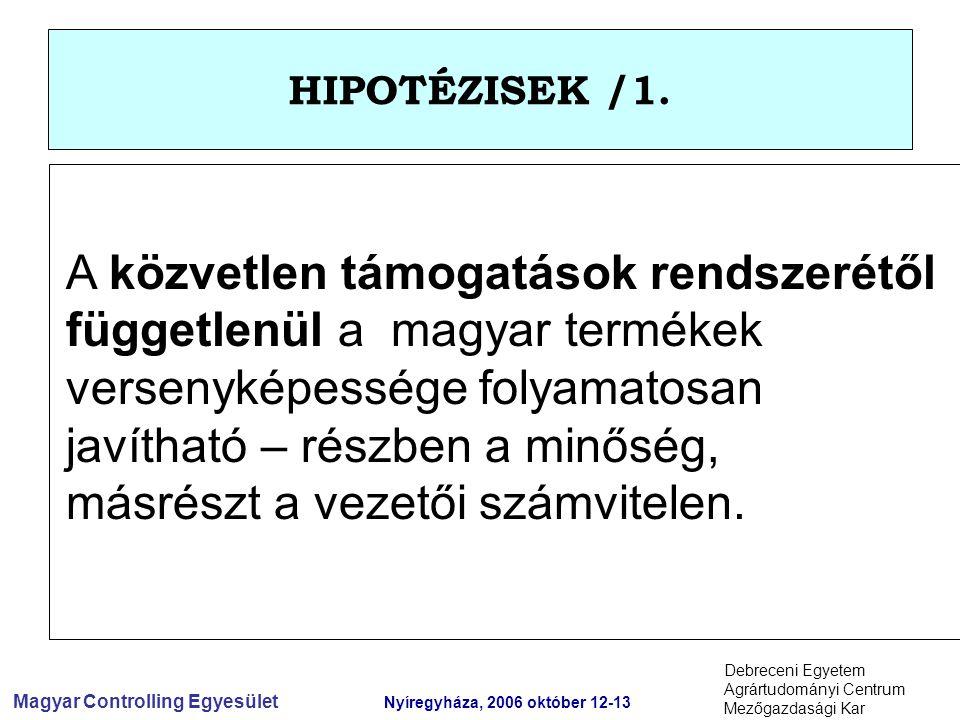 Magyar Controlling Egyesület Nyíregyháza, 2006 október 12-13 Debreceni Egyetem Agrártudományi Centrum Mezőgazdasági Kar HIPOTÉZISEK /1.