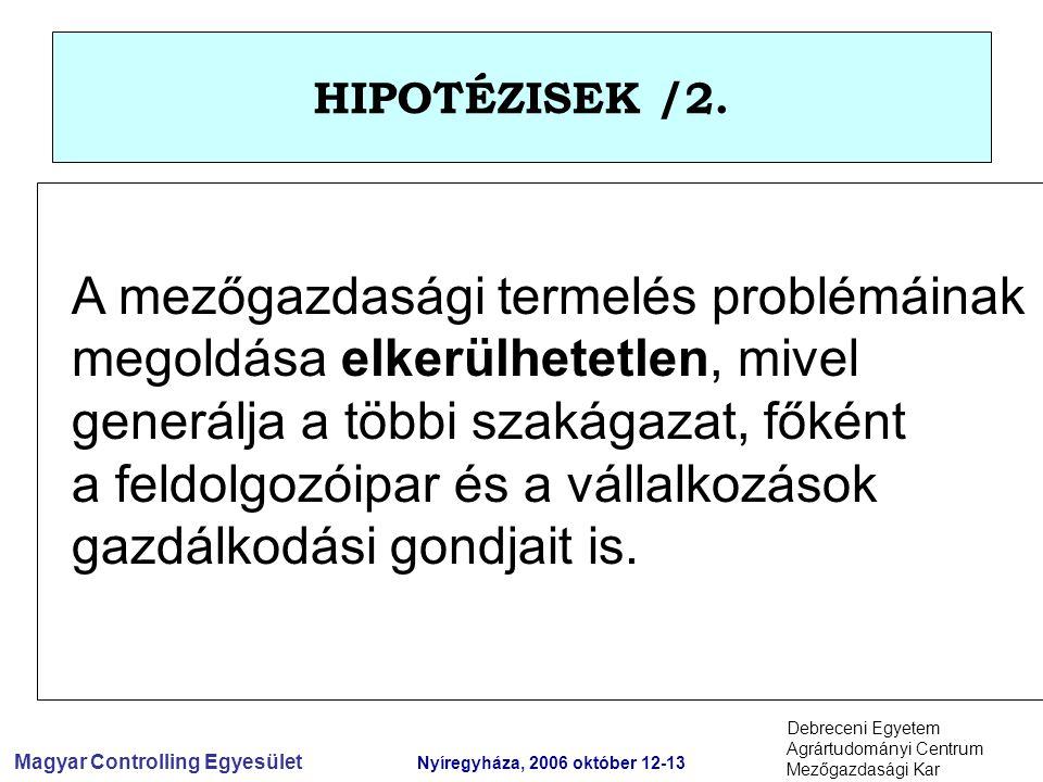 Magyar Controlling Egyesület Nyíregyháza, 2006 október 12-13 Debreceni Egyetem Agrártudományi Centrum Mezőgazdasági Kar HIPOTÉZISEK /2.
