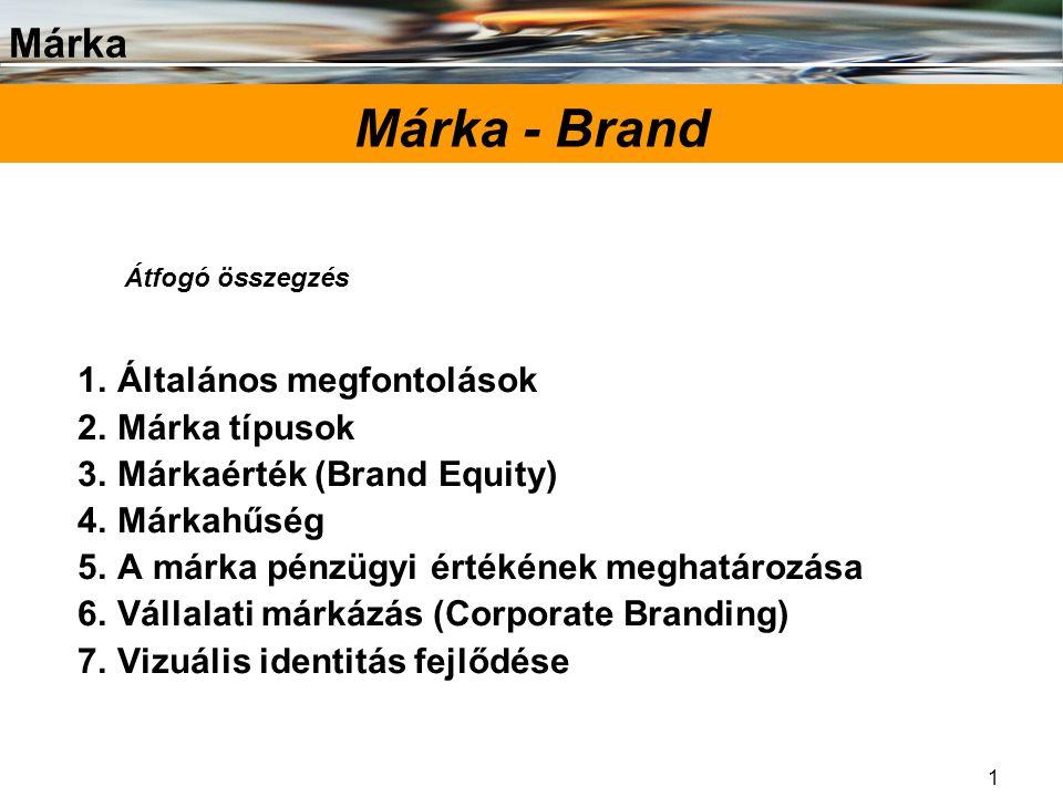 Márka 1 Márka - Brand 1.Általános megfontolások 2.Márka típusok 3.Márkaérték (Brand Equity) 4.Márkahűség 5.A márka pénzügyi értékének meghatározása 6.