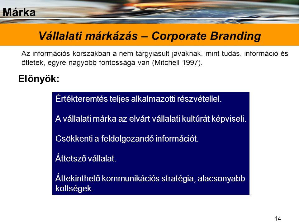 Márka 14 Vállalati márkázás – Corporate Branding Előnyök: Az információs korszakban a nem tárgyiasult javaknak, mint tudás, információ és ötletek, egy