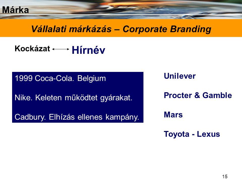 Márka 15 Vállalati márkázás – Corporate Branding Kockázat Hírnév 1999 Coca-Cola. Belgium Nike. Keleten működtet gyárakat. Cadbury. Elhízás ellenes kam