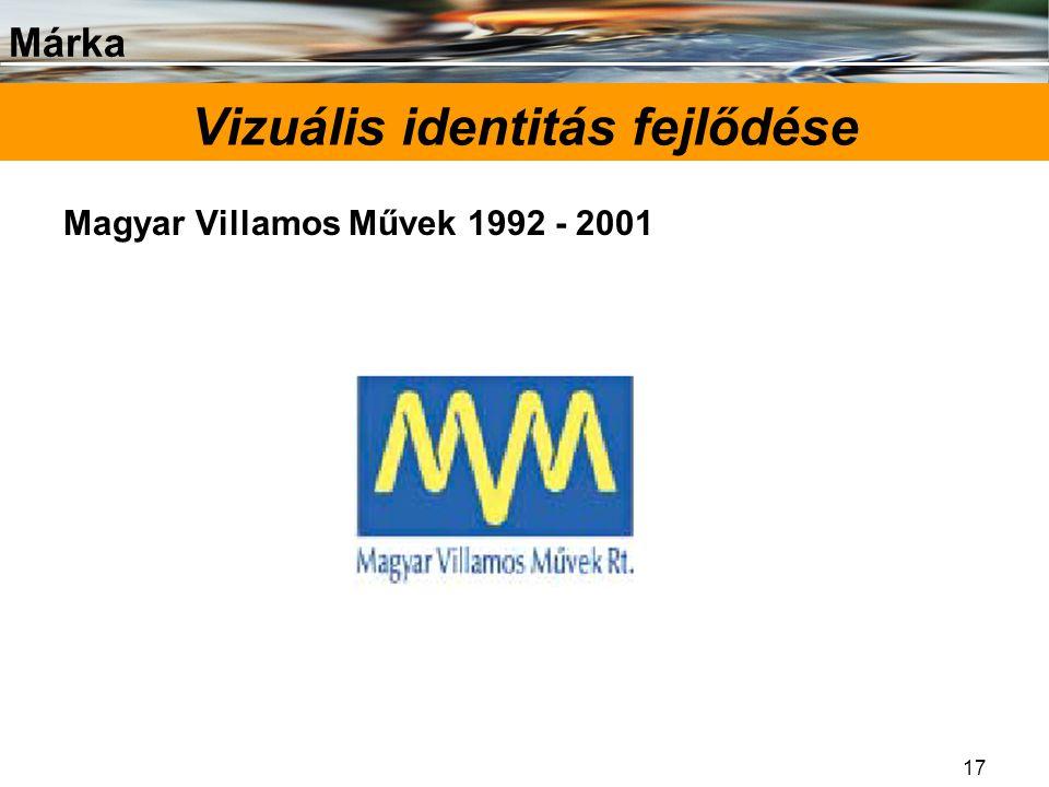 Márka 17 Vizuális identitás fejlődése Magyar Villamos Művek 1992 - 2001