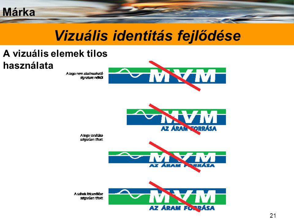 Márka 21 Vizuális identitás fejlődése A vizuális elemek tilos használata