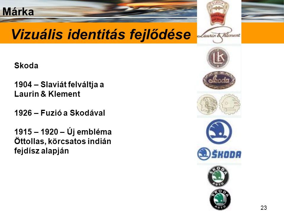 Márka 23 Vizuális identitás fejlődése Skoda 1904 – Slaviát felváltja a Laurin & Klement 1926 – Fuzió a Skodával 1915 – 1920 – Új embléma Öttollas, kör