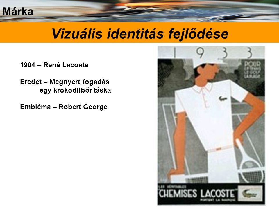 Márka 24 Vizuális identitás fejlődése 1904 – René Lacoste Eredet – Megnyert fogadás egy krokodilbőr táska Embléma – Robert George