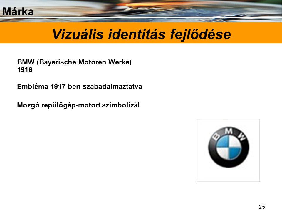 Márka 25 Vizuális identitás fejlődése BMW (Bayerische Motoren Werke) 1916 Embléma 1917-ben szabadalmaztatva Mozgó repülőgép-motort szimbolizál