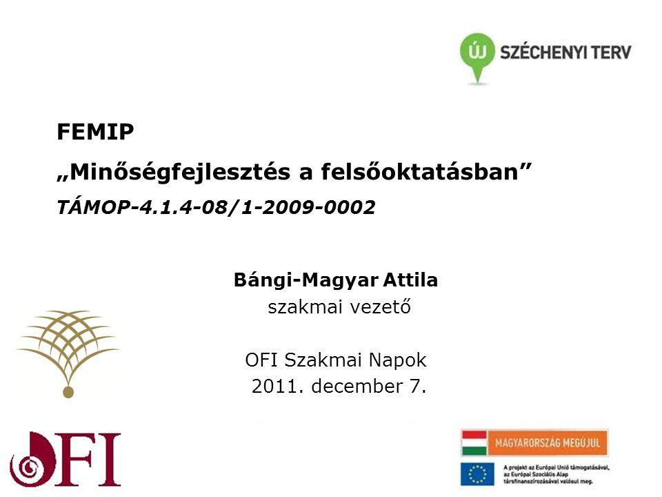 """FEMIP """"Minőségfejlesztés a felsőoktatásban TÁMOP-4.1.4-08/1-2009-0002 Bángi-Magyar Attila szakmai vezető OFI Szakmai Napok 2011."""