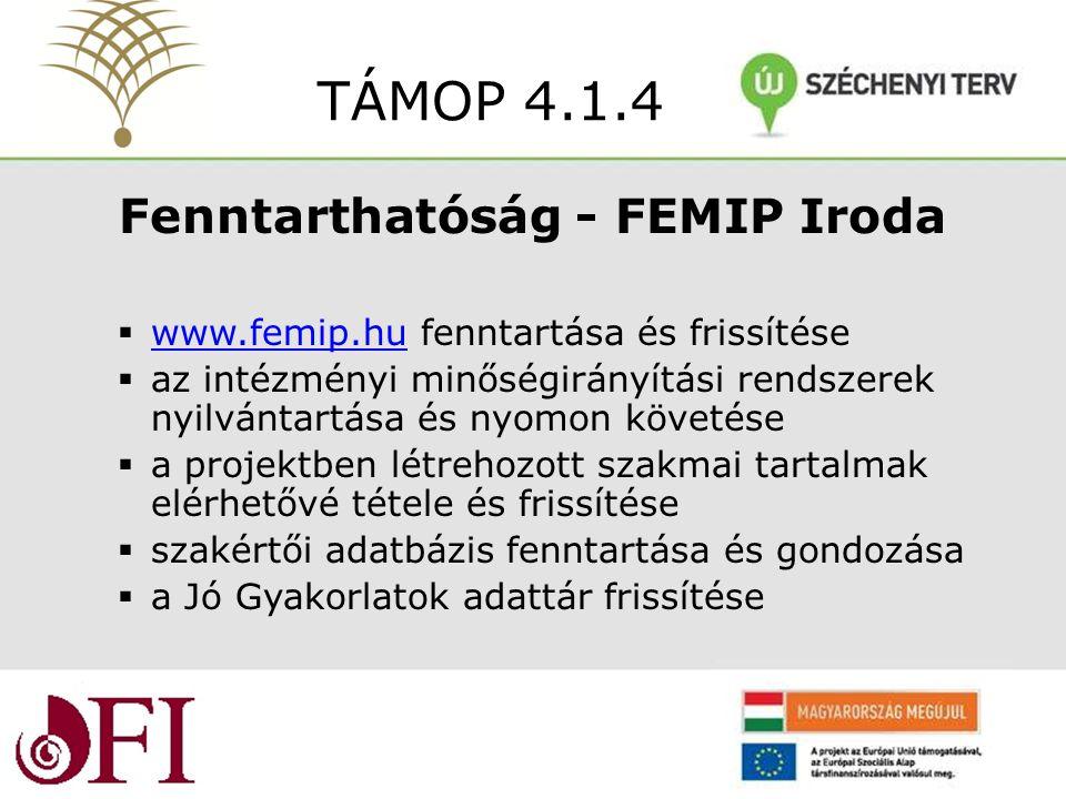 Fenntarthatóság - FEMIP Iroda  www.femip.hu fenntartása és frissítése www.femip.hu  az intézményi minőségirányítási rendszerek nyilvántartása és nyomon követése  a projektben létrehozott szakmai tartalmak elérhetővé tétele és frissítése  szakértői adatbázis fenntartása és gondozása  a Jó Gyakorlatok adattár frissítése TÁMOP 4.1.4