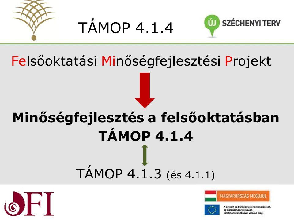 Felsőoktatási Minőségfejlesztési Projekt Minőségfejlesztés a felsőoktatásban TÁMOP 4.1.4 TÁMOP 4.1.3 (és 4.1.1) TÁMOP 4.1.4