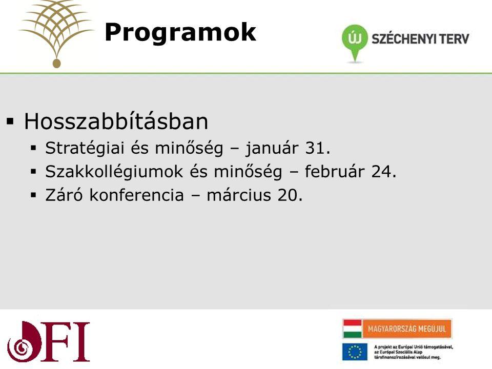  Hosszabbításban  Stratégiai és minőség – január 31.  Szakkollégiumok és minőség – február 24.  Záró konferencia – március 20. Programok