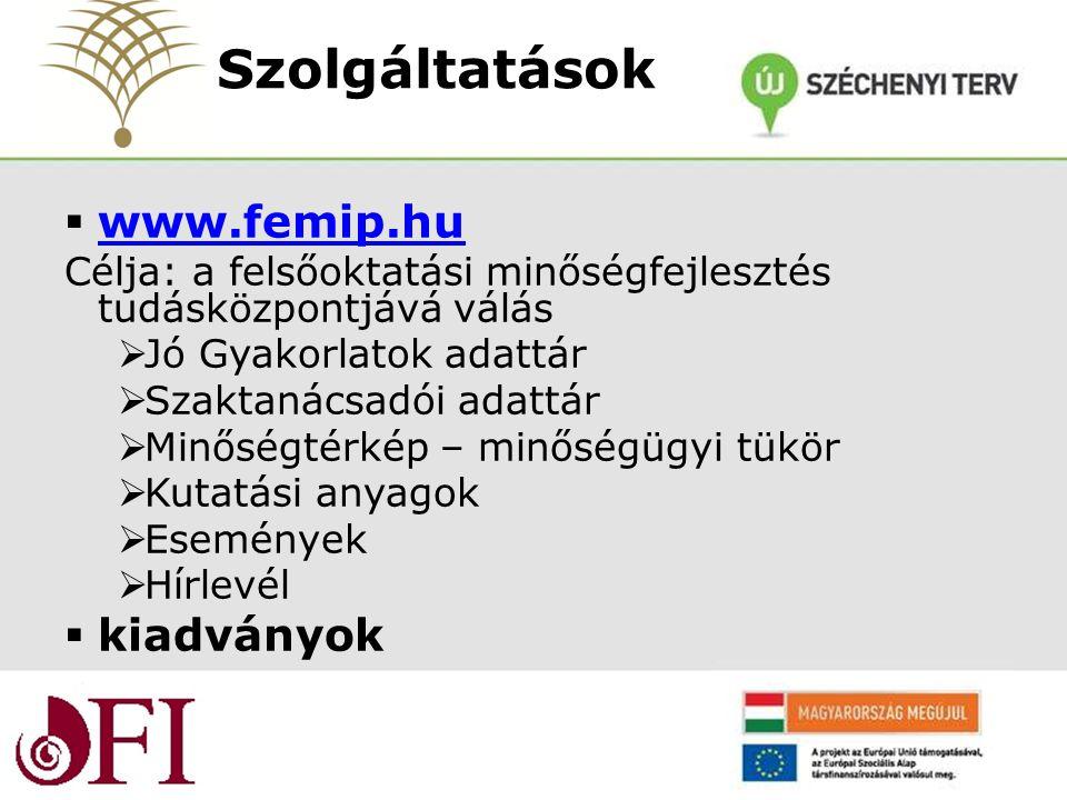  www.femip.hu www.femip.hu Célja: a felsőoktatási minőségfejlesztés tudásközpontjává válás  Jó Gyakorlatok adattár  Szaktanácsadói adattár  Minőségtérkép – minőségügyi tükör  Kutatási anyagok  Események  Hírlevél  kiadványok Szolgáltatások