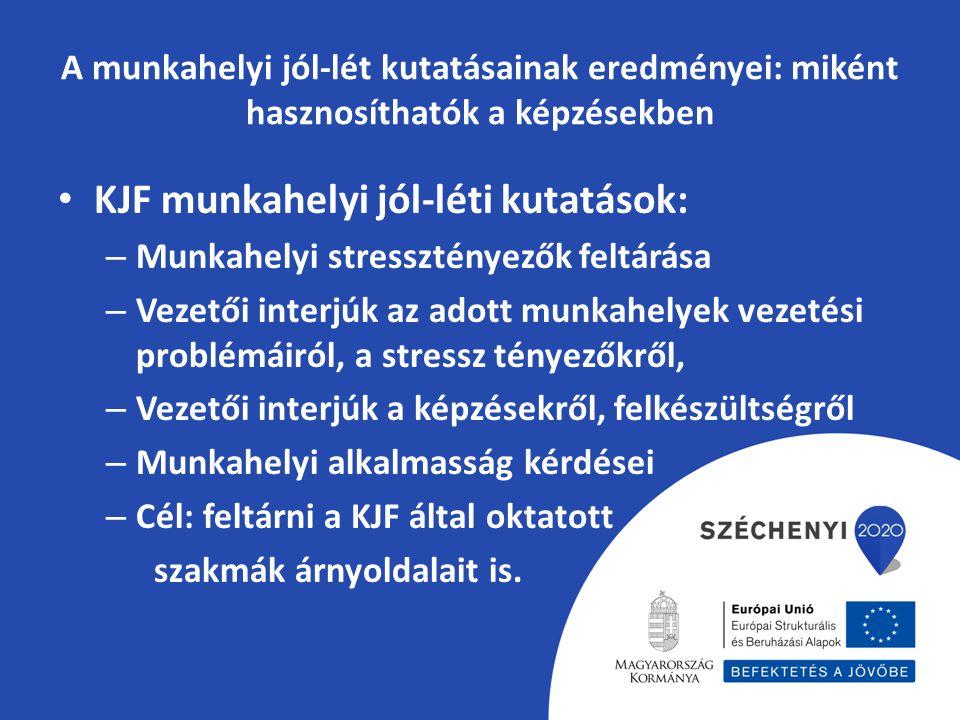 A munkahelyi jól-lét kutatásainak eredményei: miként hasznosíthatók a képzésekben KJF munkahelyi jól-léti kutatások: – Munkahelyi stressztényezők felt