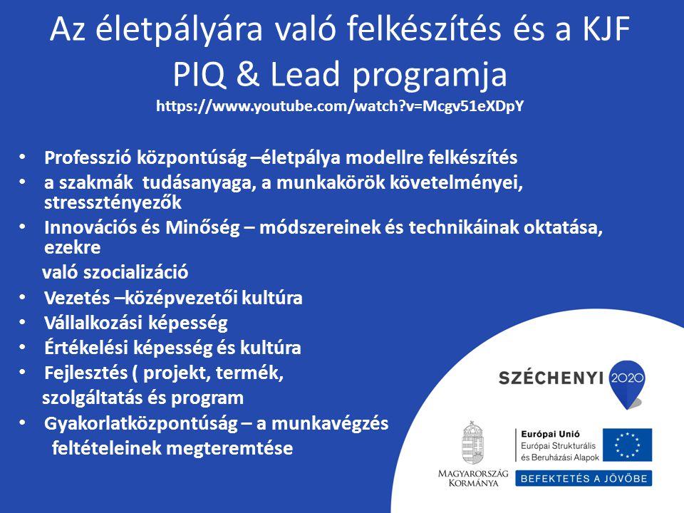 Az életpályára való felkészítés és a KJF PIQ & Lead programja https://www.youtube.com/watch?v=Mcgv51eXDpY Professzió központúság –életpálya modellre f
