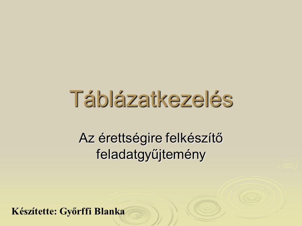 Táblázatkezelés Az érettségire felkészítő feladatgyűjtemény Készítette: Győrffi Blanka