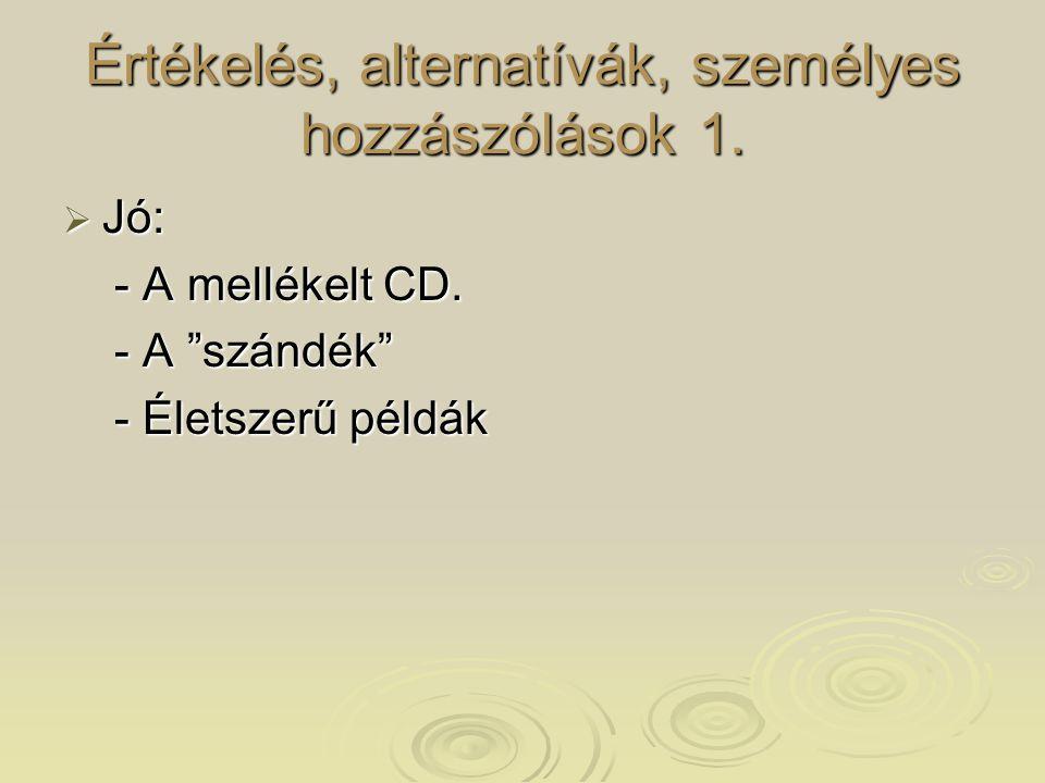 """Értékelés, alternatívák, személyes hozzászólások 1.  Jó: - A mellékelt CD. - A mellékelt CD. - A """"szándék"""" - A """"szándék"""" - Életszerű példák - Életsze"""