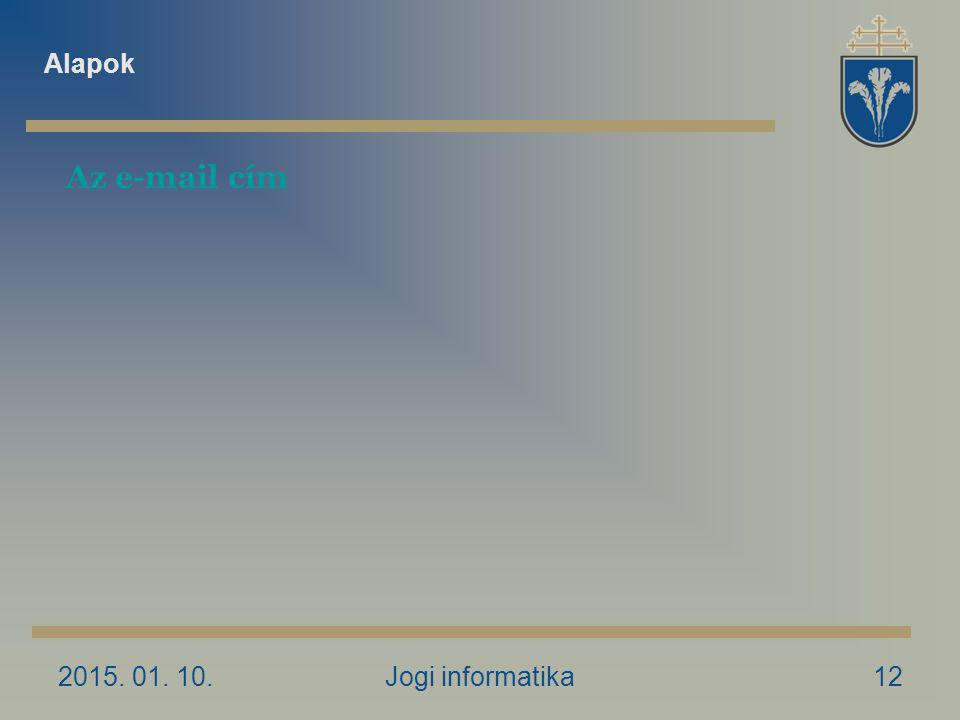 2015. 01. 10.Jogi informatika12 Az e-mail cím Alapok