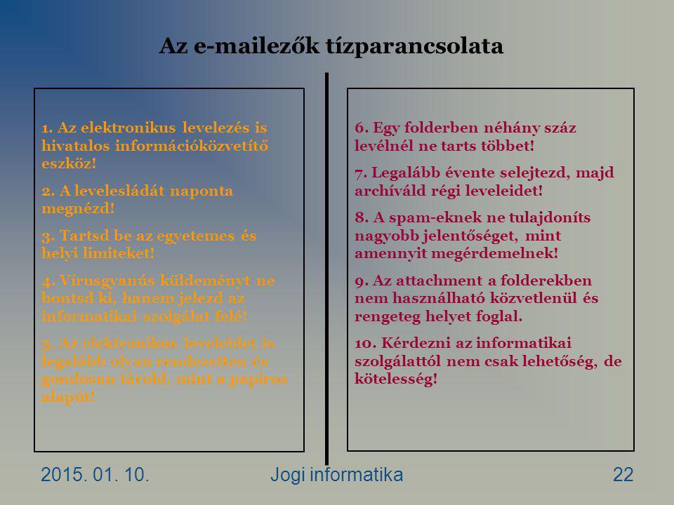 2015. 01. 10.Jogi informatika22 Az e-mailezők tízparancsolata 1.