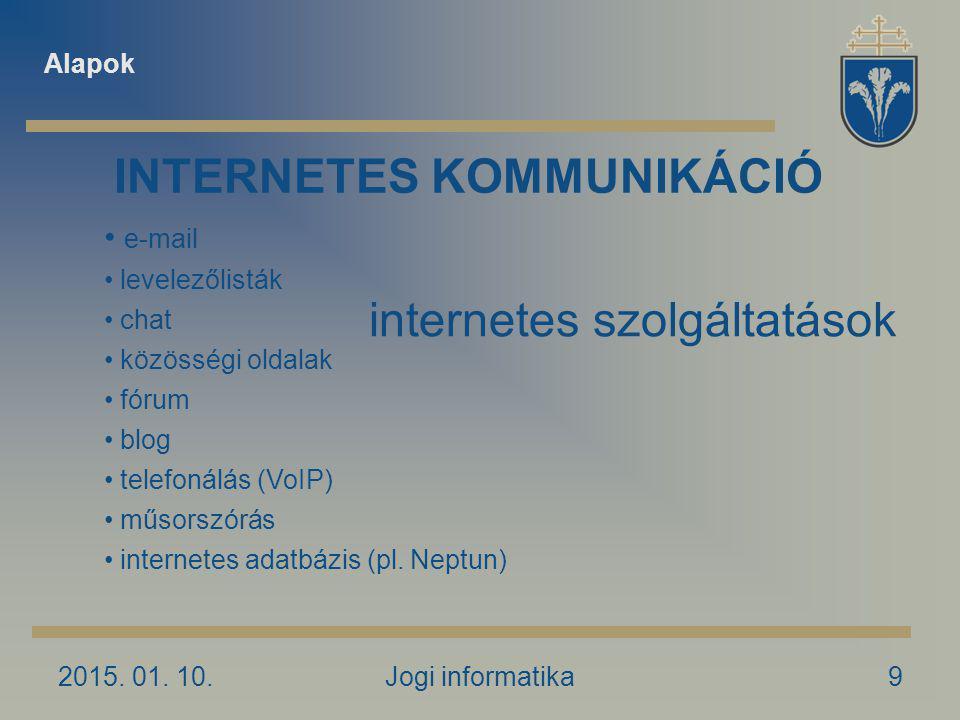 2015.01. 10.Jogi informatika20 Levelező kliensprogramok Mi a kliensprogram.