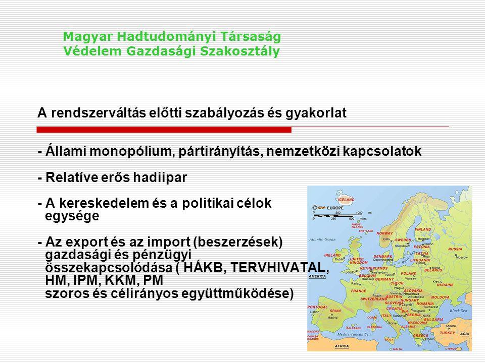 A rendszerváltás eredményei a haditechnikai területen - A magyar hadiipar összeomlása - A nemzetközi kapcsolatok (kétoldalú és sokoldalú együttműködések, kutatások), melyek a VSZ-hez kötődtek, megszűntek, - Az állami egységes írányító és ellenőrző szervezet(ek) gyakorlatilag megszűnt(ek), - A haditechnikai kereskedelmi monopólium megszűnt, de töredékére csökkent a belső megrendelések szintje is, - Létrejött a piacgazdaság feltételeire alapuló új, a gazdasági tevékenységet szabályozó rendszer Magyar Hadtudományi Társaság Védelem Gazdasági Szakosztály