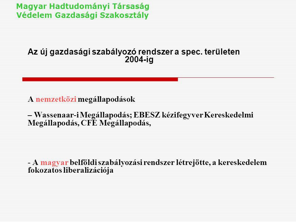 Az új gazdasági szabályozó rendszer a spec. területen 2004-ig A nemzetközi megállapodások – Wassenaar-i Megállapodás; EBESZ kézifegyver Kereskedelmi M