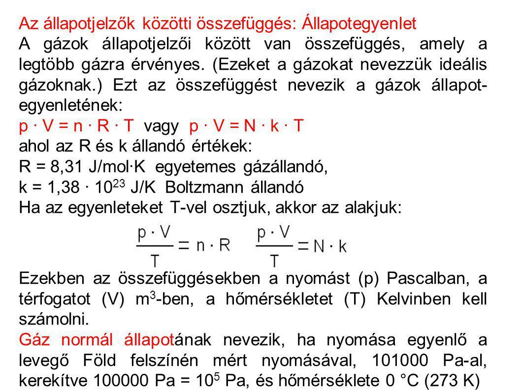 Gázok állapotváltozásai A gázoknak a jellemzői megváltoznak, ha a gázt külső hatás (pl.