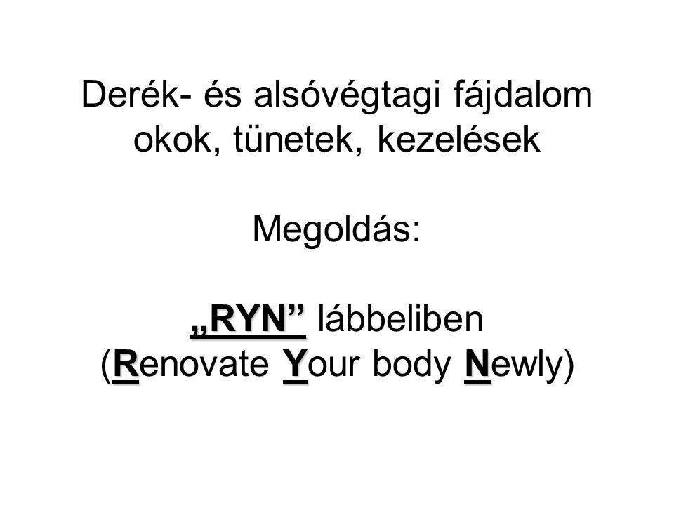 """""""RYN RYN Derék- és alsóvégtagi fájdalom okok, tünetek, kezelések Megoldás: """"RYN lábbeliben (Renovate Your body Newly)"""