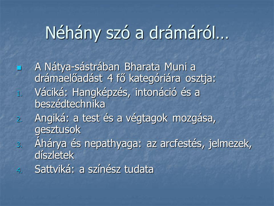 Néhány szó a drámáról… A Nátya-sástrában Bharata Muni a drámaelőadást 4 fő kategóriára osztja: A Nátya-sástrában Bharata Muni a drámaelőadást 4 fő kategóriára osztja: 1.