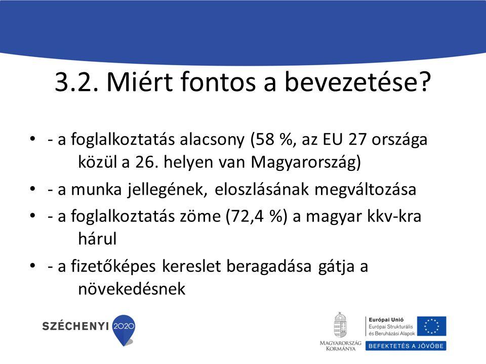 3.2. Miért fontos a bevezetése. - a foglalkoztatás alacsony (58 %, az EU 27 országa közül a 26.