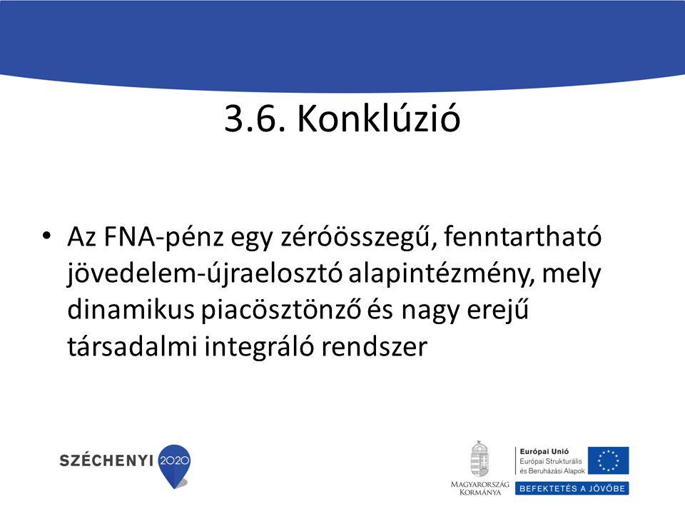 3.6. Konklúzió Az FNA-pénz egy zéróösszegű, fenntartható jövedelem-újraelosztó alapintézmény, mely dinamikus piacösztönző és nagy erejű társadalmi int