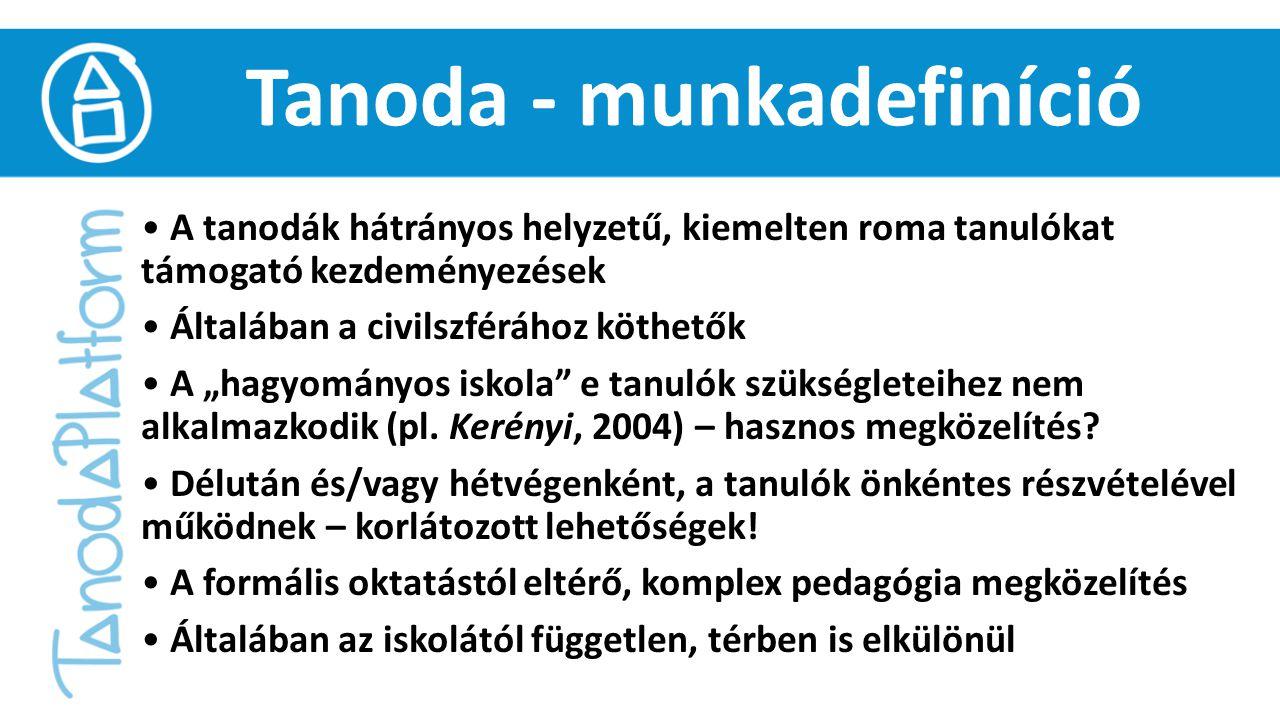 """Tanoda - munkadefiníció A tanodák hátrányos helyzetű, kiemelten roma tanulókat támogató kezdeményezések Általában a civilszférához köthetők A """"hagyományos iskola e tanulók szükségleteihez nem alkalmazkodik (pl."""
