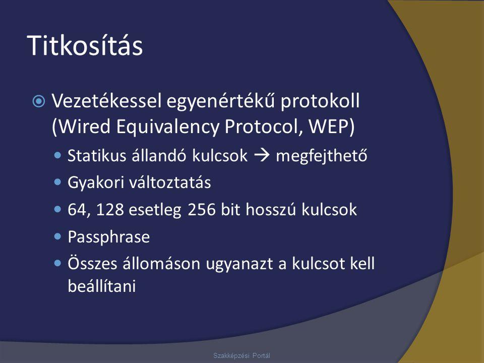 Titkosítás  Vezetékessel egyenértékű protokoll (Wired Equivalency Protocol, WEP) Statikus állandó kulcsok  megfejthető Gyakori változtatás 64, 128 e