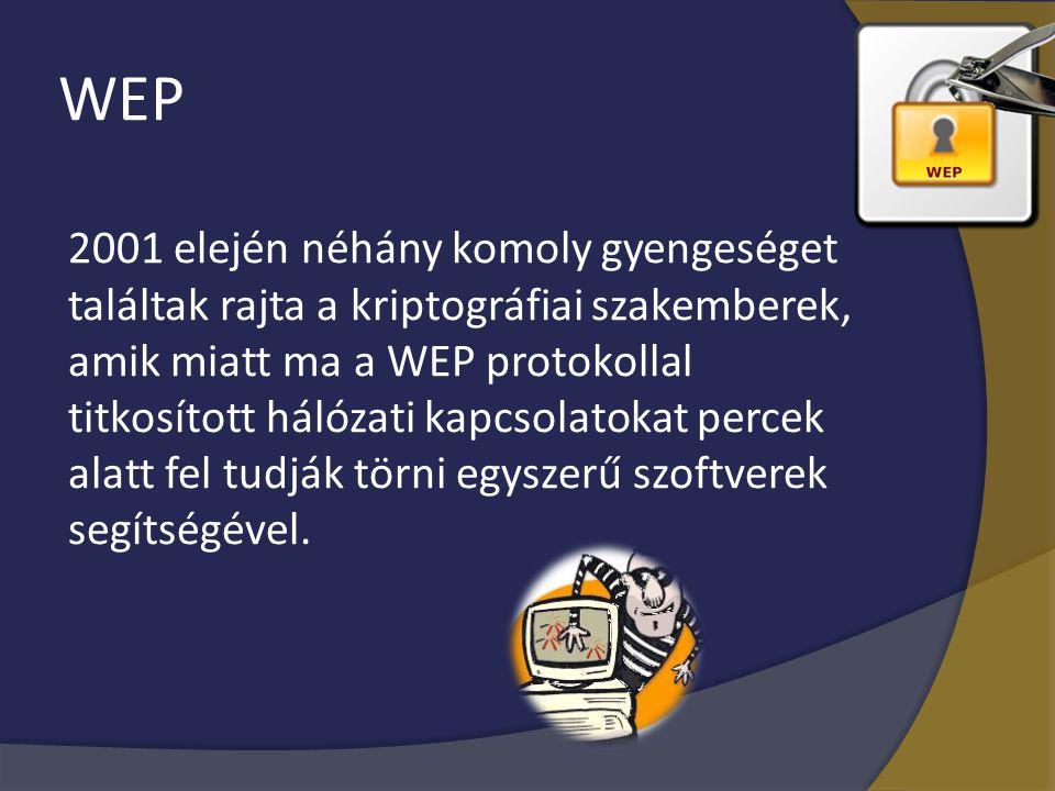 WEP 2001 elején néhány komoly gyengeséget találtak rajta a kriptográfiai szakemberek, amik miatt ma a WEP protokollal titkosított hálózati kapcsolatok