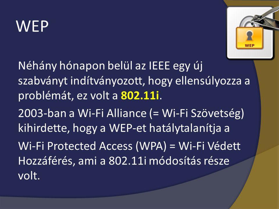 WEP Néhány hónapon belül az IEEE egy új szabványt indítványozott, hogy ellensúlyozza a problémát, ez volt a 802.11i. 2003-ban a Wi-Fi Alliance (= Wi-F