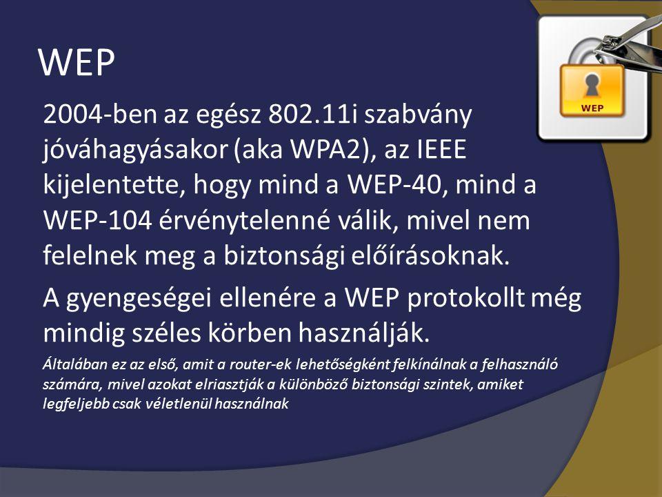 WEP 2004-ben az egész 802.11i szabvány jóváhagyásakor (aka WPA2), az IEEE kijelentette, hogy mind a WEP-40, mind a WEP-104 érvénytelenné válik, mivel