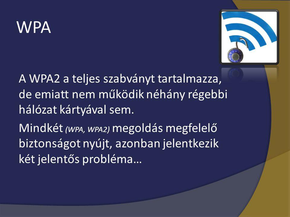 WPA A WPA2 a teljes szabványt tartalmazza, de emiatt nem működik néhány régebbi hálózat kártyával sem. Mindkét (WPA, WPA2) megoldás megfelelő biztonsá