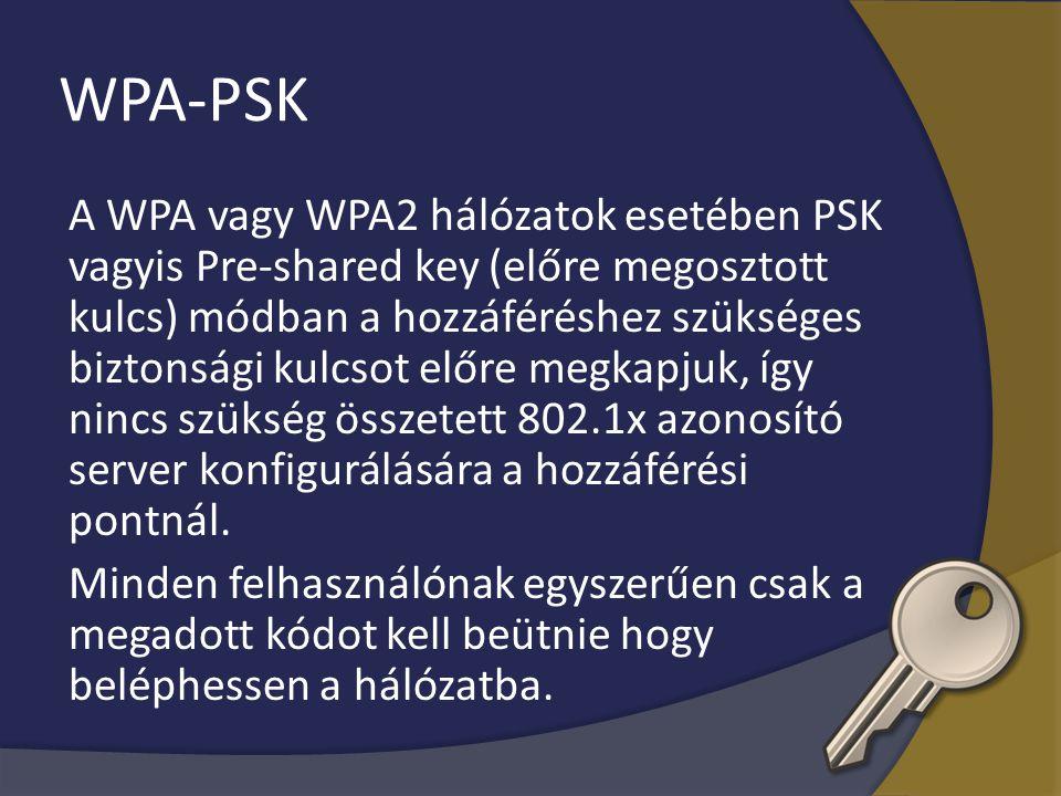 WPA-PSK A WPA vagy WPA2 hálózatok esetében PSK vagyis Pre-shared key (előre megosztott kulcs) módban a hozzáféréshez szükséges biztonsági kulcsot előr
