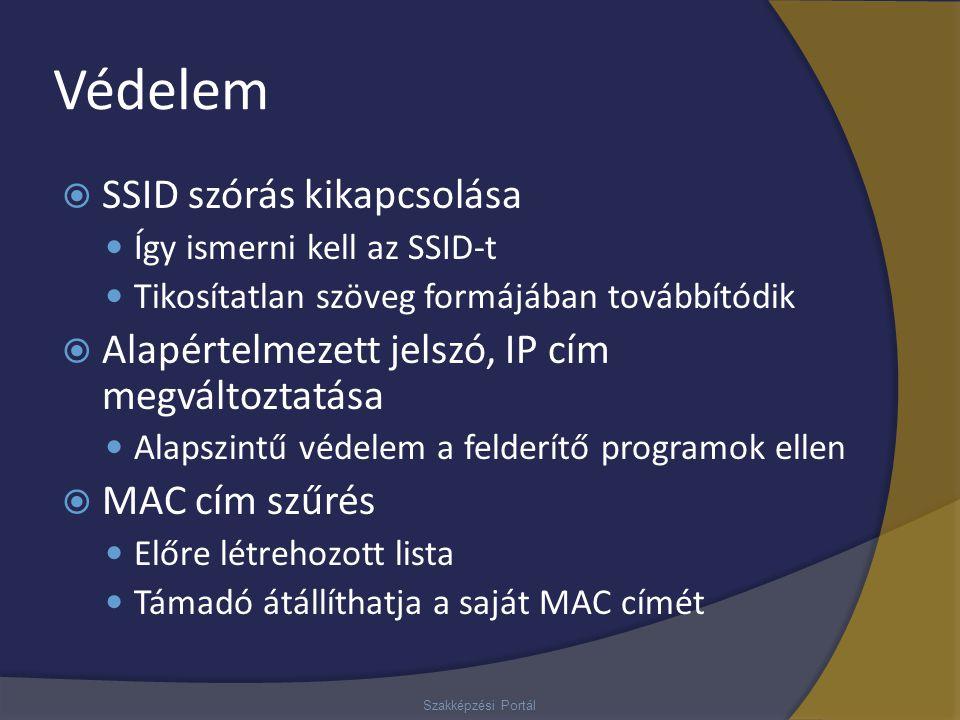 Védelem  SSID szórás kikapcsolása Így ismerni kell az SSID-t Tikosítatlan szöveg formájában továbbítódik  Alapértelmezett jelszó, IP cím megváltozta