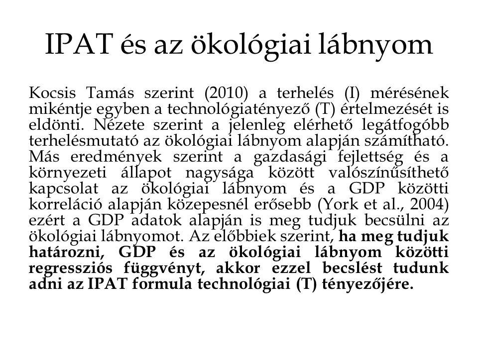 IPAT és az ökológiai lábnyom Kocsis Tamás szerint (2010) a terhelés (I) mérésének mikéntje egyben a technológiatényező (T) értelmezését is eldönti.